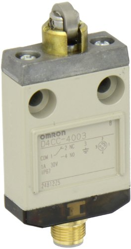 Omron D4CC-4003 Miniature Limit Switch, Indicator Light, Crossroller Plunger, 1A at 30VDC Rated Current