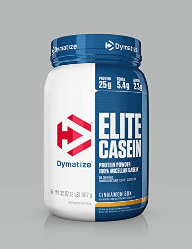 Dymatize Elite 100% Micellar Casein Slow Absorbing Protein Powder with Muscle Building Amino Acids, Perfect For Overnight Recovery, Slow Digesting, Cinnamon Bun, 2 lbs