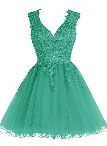 Kurz Brautjungfernkleider Grün Ausschnitt Abendkleider Beyonddress Appliques Damen V Ballkleid Cocktailkleid gvETHwq
