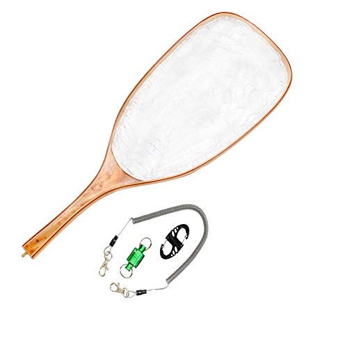 SF Burl Wood Fly Fishing Landing Soft Silicone Rubber Mesh Trout Catch and Release Net with Green Magnetic Net Release Combo ()