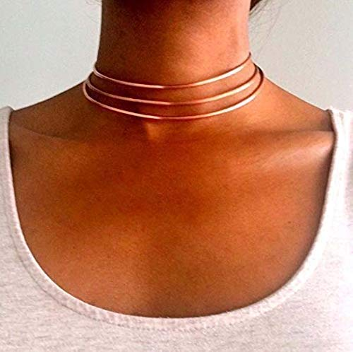 8cb55a8ec22c7a Women Choker Necklace Set of 3 Copper Layered Statement Girls Thick  Necklace 12