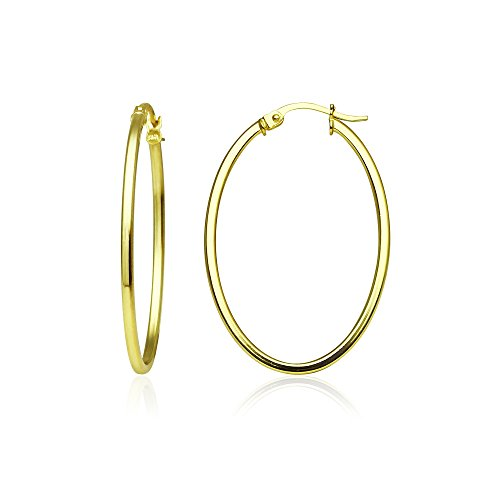 Sterling Silver 1.5mm Oval Square-Tube Hoop Earrings, Choose Size and Color, One Pair