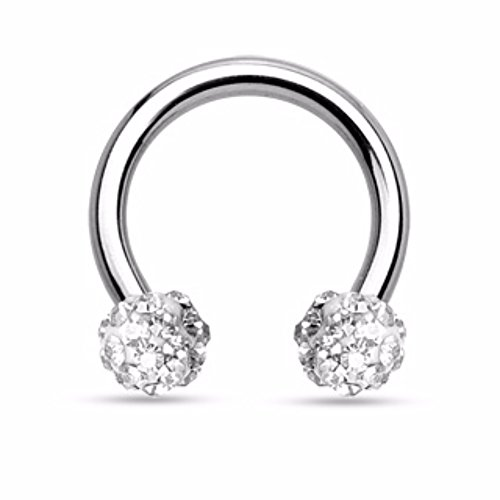 Crystal Paved Ferido Balls 316L Surgical Steel WildKlass Circular Barbell Horseshoe