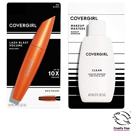 (Covergirl Lash Blast Volume Mascara, Black and Covergirl Clean Makeup Remover for Eyes & Lips Bundle, 2 Count)