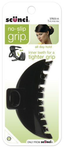 Scunci No-slip Grip Double Teeth Jaw Clip, 9cm, Colors may v