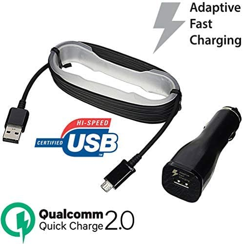 eFactory Direct Fast 15W Car Charger Works for Samsung SM-J320V with Adaptive Fast Charge 2.0 and MicroUSB Data Cable!