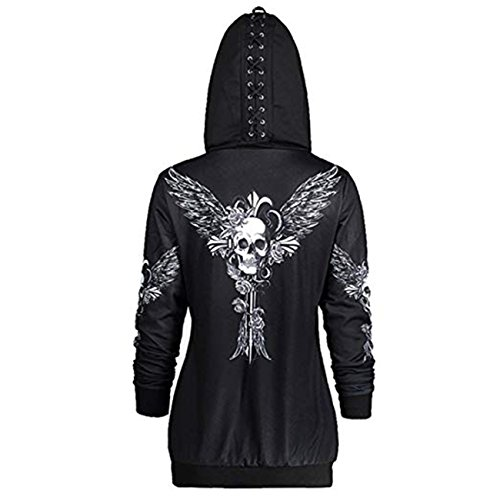 Caihongniao Women Causal Zipper Hoodie Skull Wings Print Hooded Jacket Coat Loose Sweatshirt Plus Size ()