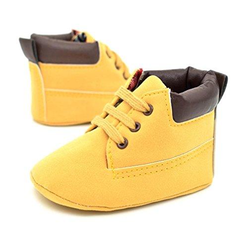 BZLine® Baby Kleinkind weiche Sohle Leder Schuhe Boy Girl Sneaker Schuhe (13cm, Gelb)