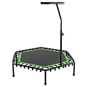 50″ Fitness Trampoline with Adjustable Foam Handle Exercise Mini Trampoline for Kids and Adults Indoor/Garden Workout, Max Load 220lbs