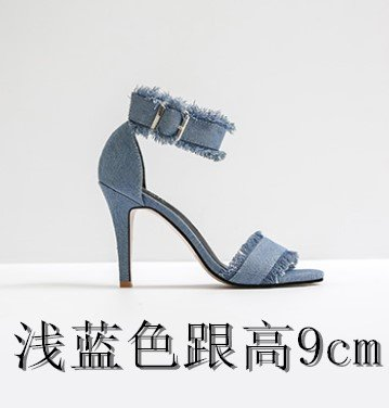 Sandals 9cm High Heeled With Small light Button Summer Toe The Buckle Female Heeled Sandals Fine Women'S Open VIVIOO Shoesone Yards blue Sandals Heeled High High 7qXXwS