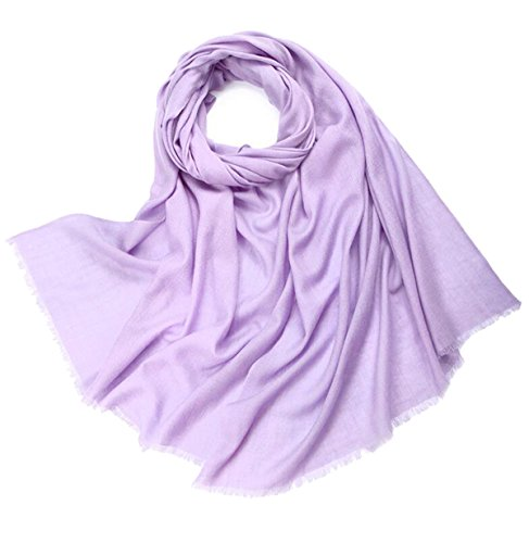 100% Cashmere Wool Ultra Thin Soft Warm Long Scarf Shawl Scarves Wrap /Gift Box JAKY Global(Light Purple)