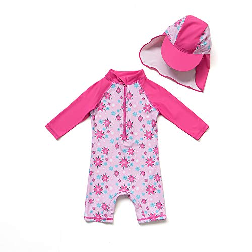 Infant/Baby Girl Swimsuit Short Sleeve Bathing Suit with UPF 50+ Sun Protection (Rosy, 3-6 (Infant Sun Protection Suit)