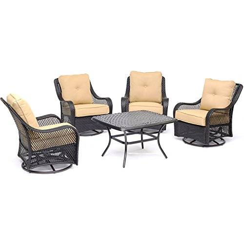 Hanover ORL5PCCTSW4 TAN Orleans 5 Piece Patio Chat Set In Sahara Sand With 4
