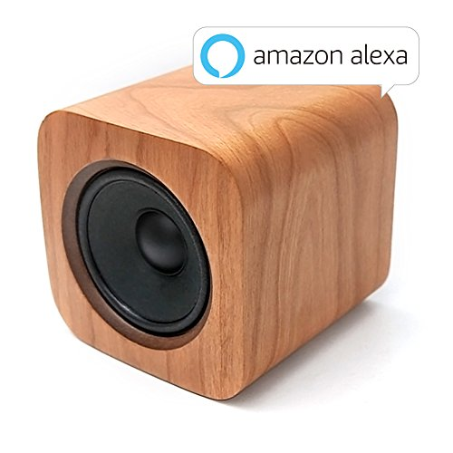 Sugr Cube Minimalist Wi-Fi Speaker with Amazon Alexa, Spotify Connect and Touch Control,Cherry Wood