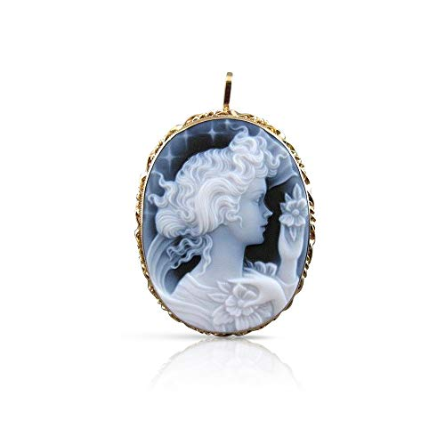 Milano Jewelers Estate 14KT Yellow Gold Blue Agate Girl Cameo Filigree PIN Pendant #20769
