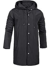 Men's Raincoats Waterproof Jacket with Hood Windbreaker Breathable Lightweight Outdoor Long Rain Jacket for Men S-XXL