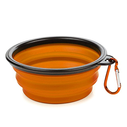 VoguSaNa Foldable Pet Bowl, Silicone Portable Premium Water & Food Feeding Dog Cat Bowl with Buckle