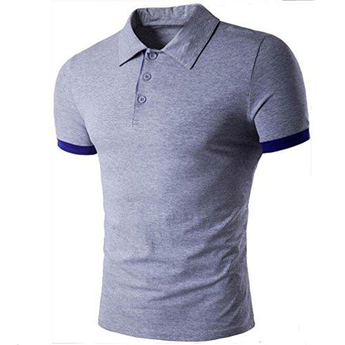 FUNIC Mens Casual Summer T-Shirt, Slim Fit Short Sleeve Casual Formal Shirt Tops (Large, Gray) (Vest Aeropostale Men)