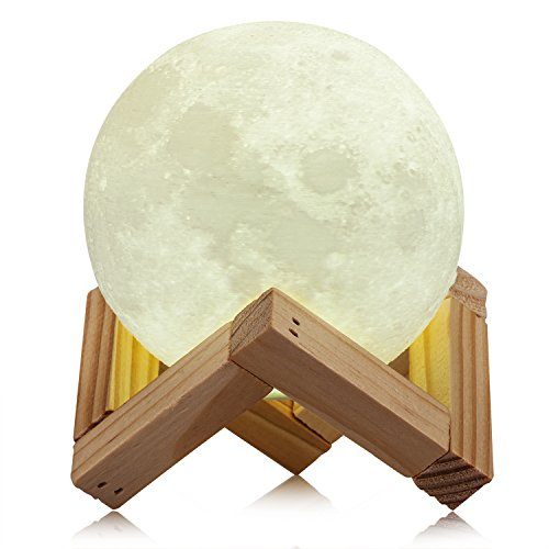 CPLA Lighting Night Light LED 3D Printing Moon Lamp, Lunar Lamp Dimmable Touch Control Brightness 3000k 6000k with USB Charging, Rechargeable Home Decorative Lights, Diameter 3.9 inch by CPLA