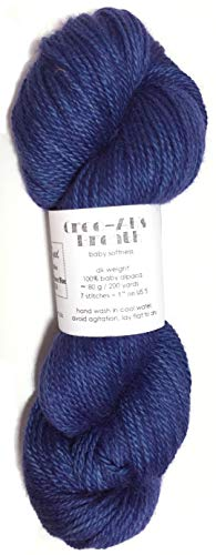Hand Dyed Baby Alpaca Yarn, Kettle Dyed: Cornflower Blue, Dk Weight, 80 Grams, 200 Yards, 100% Baby ()