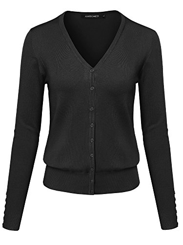 Basic Solid V-Neck Button Closure Long Sleeves Sweater Cardigan Black S