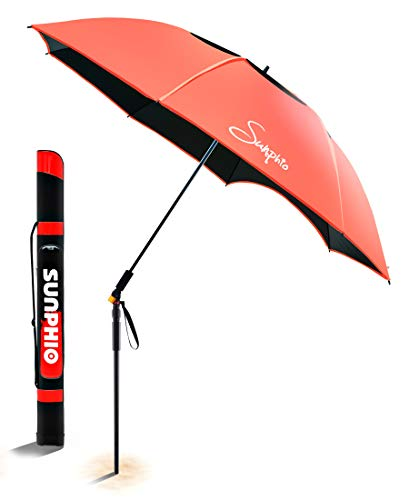 Sunphio Portable Beach Umbrella Heavy Duty with Tilt and Windproof Air Vent for Outdoor Travel, 100% UV Protection, UPF 50+ with Sand Anchor, Carry Bag, Telescoping Pole, Large Patio Sun Shade (Red)