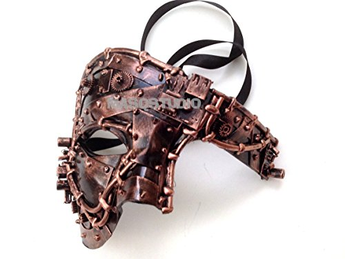 Unisex Steampunk Robot Phantom Masquerade Ball Mask Burlesque Dance Birthday Prom Halloween Party