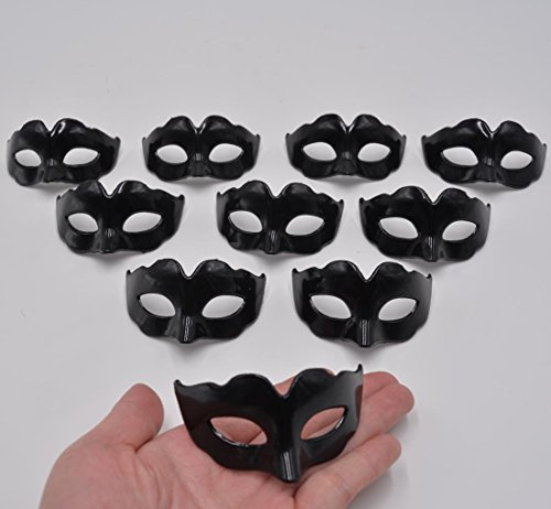 Mini Masquerade Masks Party Decoration - Yiseng 10pcs Set Simple Supper Small Masks Novelty Mardi Gras Kid Gifts (simple black) (Plastic Masquerade Mask)