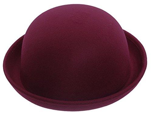 """EOZY Women Wool Felt Roll Brim Bowler Derby Hats Billycock Cloche 22.5"""" Wine"""