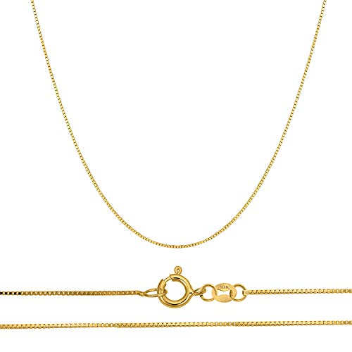 Orostar 10K Solid Gold 0.45mm Thin Box Chain Pendant Necklace, 16