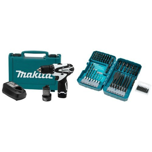 "Makita FD02W 12V max Lithium-Ion Cordless 3/8"" Driver-Drill Kit w/ Makita T-01725 Impact Drill-Driver Bit Set, Black Oxide, 70-Piece"