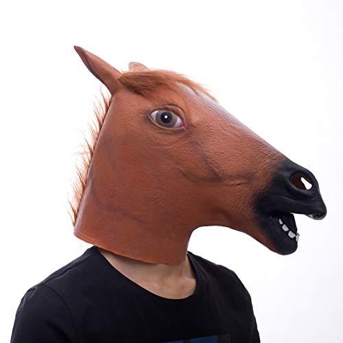 molezu Horse Mask, Creepy Horse Mask, Rubber Latex Animal Mask, Novelty Halloween Costumes, Brown Horse