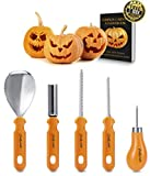 Pumpkin Carving Kit, Professional Heavy Duty Stainless Steel Tool Set, Includes 5 Carving Tools, Used As a Carving Knife for Pumpkin Halloween Decoration