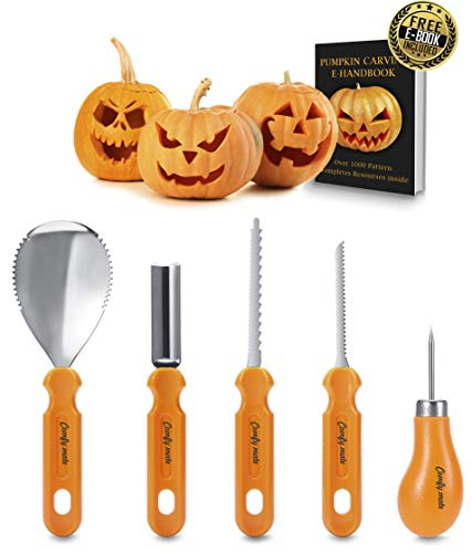 Pumpkin Carving Kit, Professional Heavy Duty Stainless Steel Tool Set, Includes 5 Carving Tools, Used As a Carving Knife for Pumpkin Halloween Decoration -