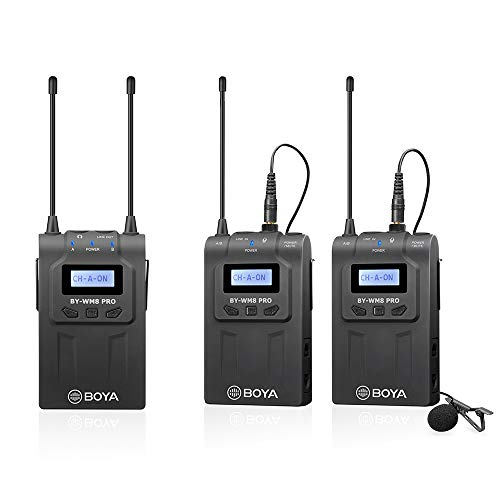 - BOYA BY-WM8 Pro-K2, Two Transmitters and One Receiver, 48 UHF Channels, LCD displays, 6h+ Operation time, Lavalier Microphone System for live sound, ENG, broadcast and film, talk shows, conferences