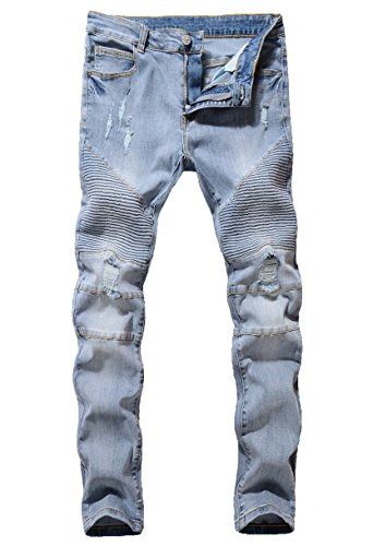 ZLZ Slim Fit Biker Jeans, Men's Super Comfy Stretch Skinny Biker Denim Jeans Pants (32, Light Blue) (Best Looking Ripped Jeans)