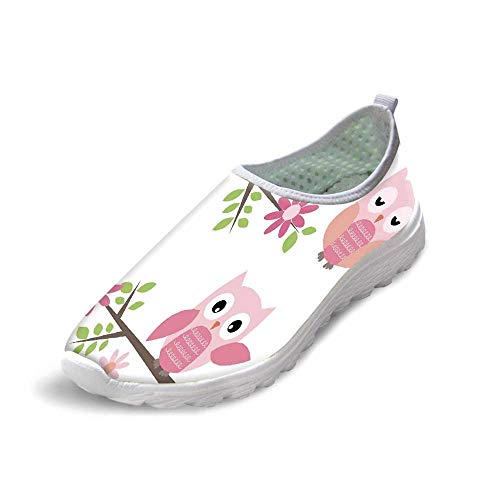 TecBillion Owls Home Decor Comfortable Running ShoesCute Baby Owls Waving in The Floral Tree Springtime Artful Girly Design Print for Men Boys,US 8