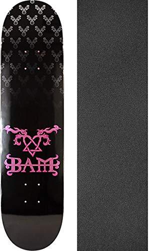 Margera Bam Skateboard Decks (Element Skateboards Bam Margera Heartagram Black/Pink Skateboard Deck - 8