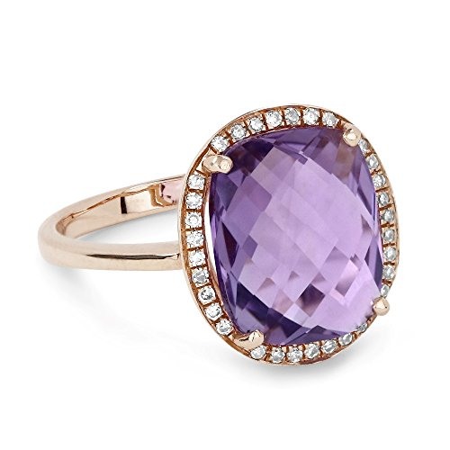 Amethyst Gemstone & Accented Diamond Ring Set In 14K (0.1 Ct Gemstones)