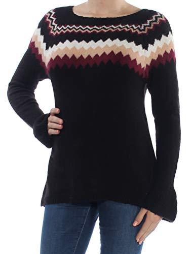 kensie Womens Knit Fair Isle Pullover Sweater Black M from kensie