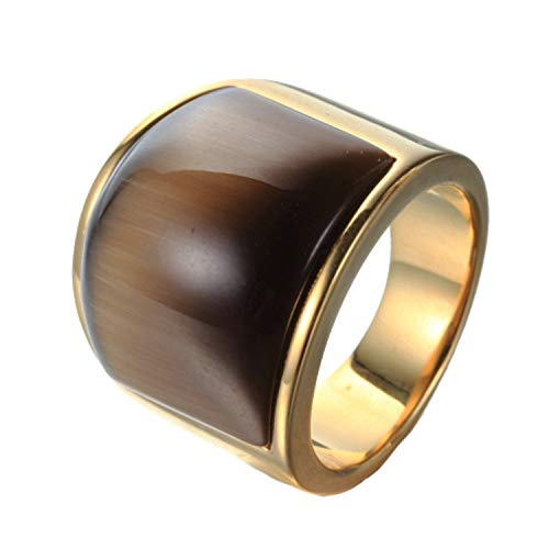 - JAJAFOOK Jewelry Stainless Steel Gold Plating Retro Big Brown Cat's Eye Stone Ring for Unisex Rings