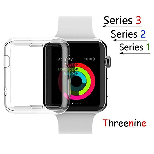 Threenine for Apple Watch Band, Durable Soft Silicone iWatch Strap Replacement Sport Band for Apple Watch Band Series 3 Series 2 Series 1 Sport, Edition (Silicone Case, 38mm S/M)