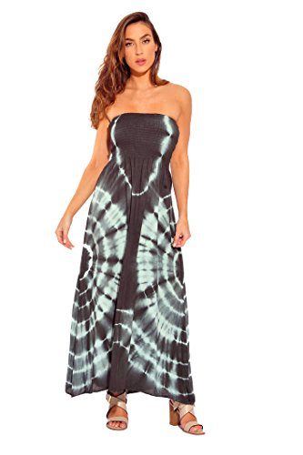 (Riviera Sun 21611-GM-2X Strapless Tube Maxi Dress/Summer Dresses Grey/Mint)