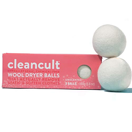 Natural Wool Dryer Balls - Hypoallergenic - Chemical Free - Baby Safe - Static Free - 100% Pure New Zealand Wool - Scent Free - Eco-Friendly - 3 Wool Dryer Balls | by Cleancult (1)