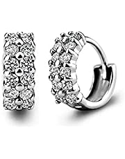 Worry-Free Shopping White Gold-Plated Double-Row CZ Small Piercing Hoop Earrings for Women/Girl