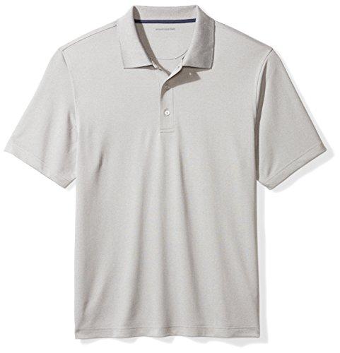 Amazon Essentials Men's Regular-Fit Quick-Dry Golf Polo Shirt, light grey heather, Medium