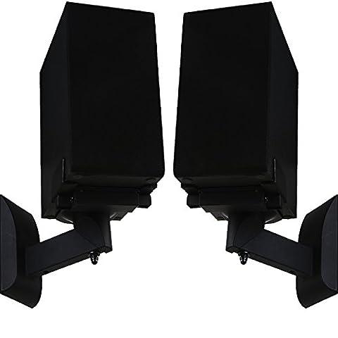WALI One Pair of Side Clamping Bookshelf Speaker Mounting Bracket with Tilt and Swivel for Large Surrounding Sound Speakers SWM201, (Audio Speaker Mounts)