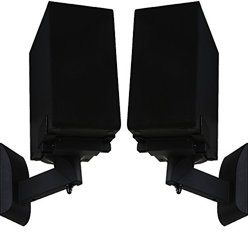 WALI One Pair of Side Clamping Bookshelf Speaker Mounting Bracket with Tilt and Swivel for Large Surrounding Sound Speakers SWM201, Black (Speaker Holder)