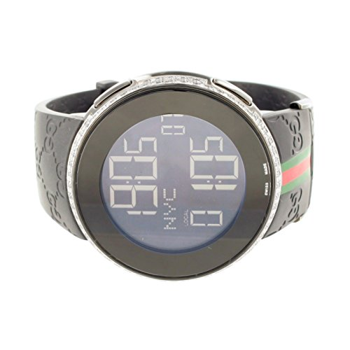 Mens I Gucci Watch YA114207 2.5 Carat Diamond Gucci Rubber Strap Digital