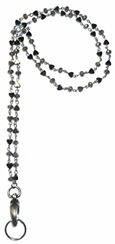 Stainless Steel Lanyard and badge holder 34 inches, Magnetic Breakaway clasp or Non Breakaway options available (Hematite Chain - Magnetic Breakaway) (Magnetic Clasp Badge Holder)